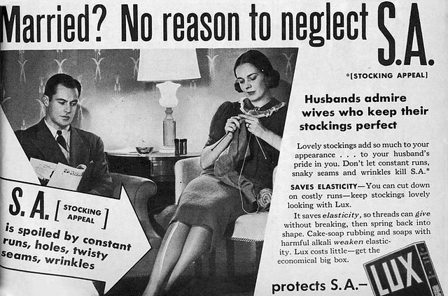 "An ad warns women against losing ""stocking appeal"""