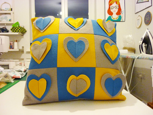 Finished Be still my beating heart cushion