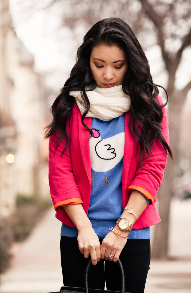 cute & little blog | pink blazer, white infinity scarf, french hen animal sweater | winter outfit