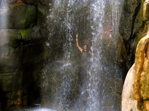 Inside the waterfall