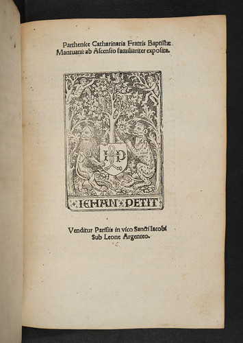 Title-page with printer's device in Baptista Mantuanus: Parthenice secunda, sive Catharinaria