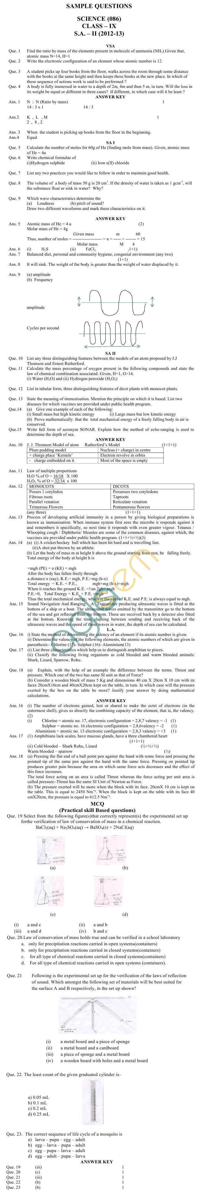 CBSE Board Exam Sample Papers (SA2) Class IX - Science