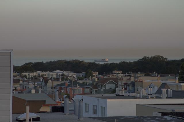 pollution on the horizon of Ocean Beach POV 1333 26th Ave; The Sunset, San Francisco (2014)