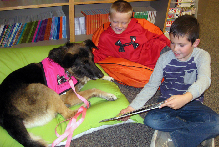 Shep, one of the many animals rescued and fostered by volunteers at the Chama Valley Humane Society. She now is a registered therapy dog and here enjoys being read to at Tierra Amarilla Elementary School.