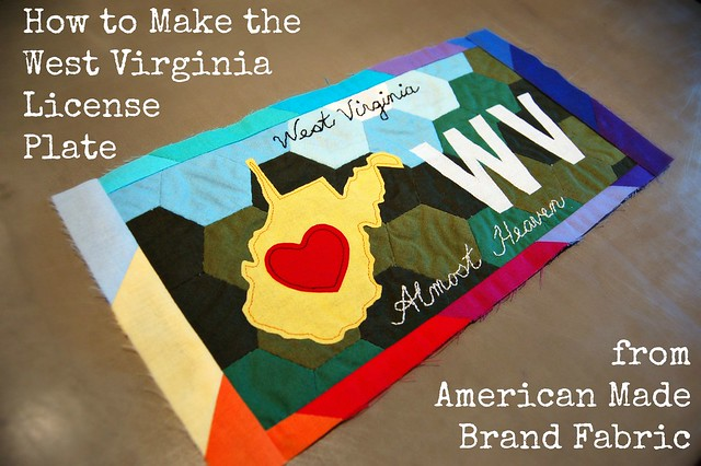 WV License Plate from American Made Brand Fabric