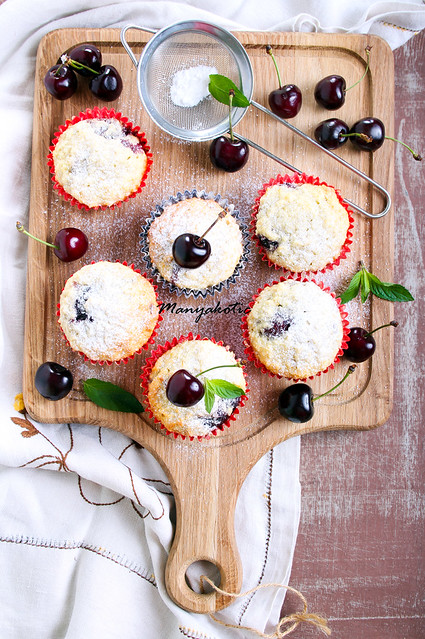 Coconut and sweet cherry cakes