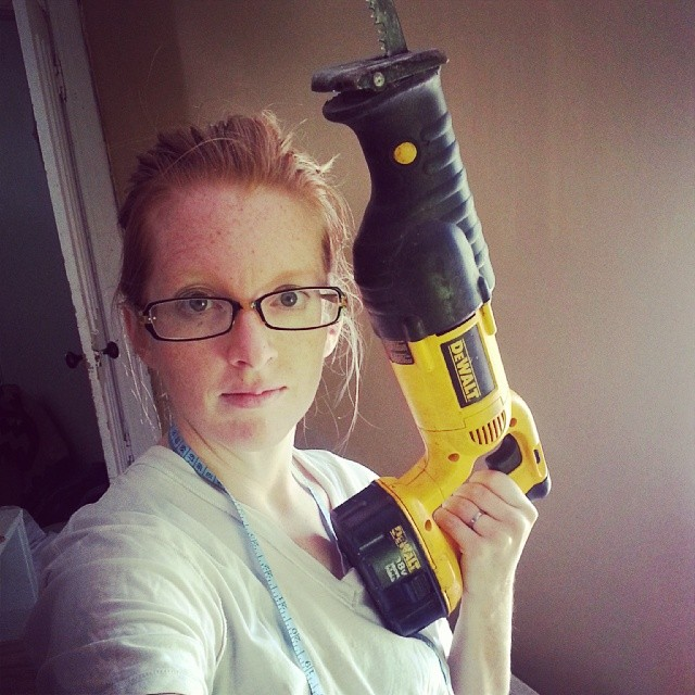 Just used this beast. It is half as big as I am and weighs almost as much. Had to sit on the board to hold it still but that miserable corner cut is done. #dewalt #DIY