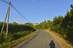 Mon ombre sur la route du château de Vendoire
