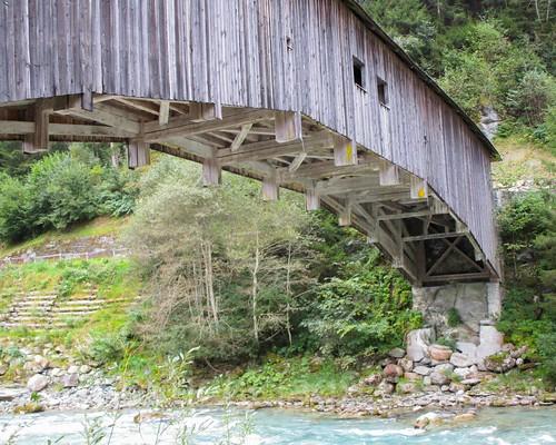 RHE056 Punt da Rueun Covered Wooden Bridge over the Vorderrhein River, Surselva, Grisons, Switzerland