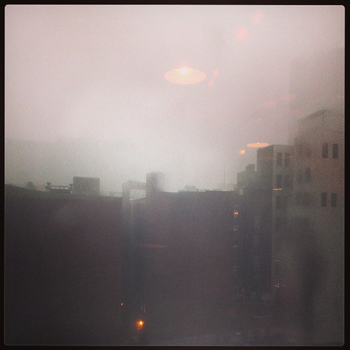 Its rainy so hard I can't even see any of the buildings in downtown Cincinnati...
