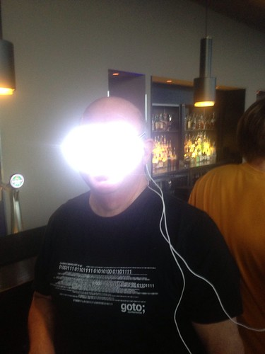Behind the lens flare that's Dave Thomas (visual age) wearing led #brighteyes 100+ LEDs playing patterns #gotoams