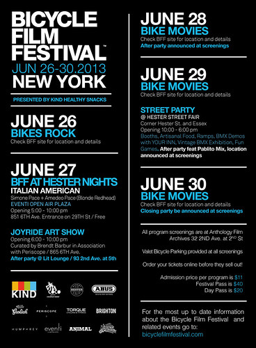 One sheet flyer for 2013 Bicycle Film Festival-NYC