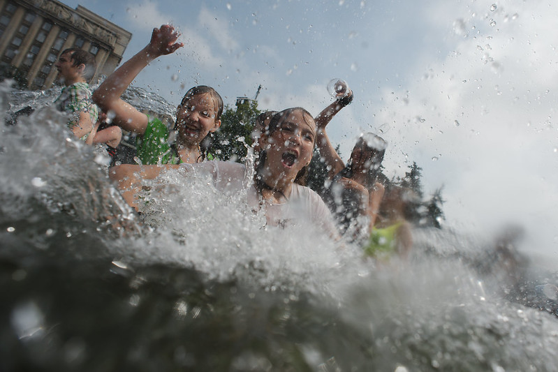 Hundreds take part in a water battle in St. Petersburg