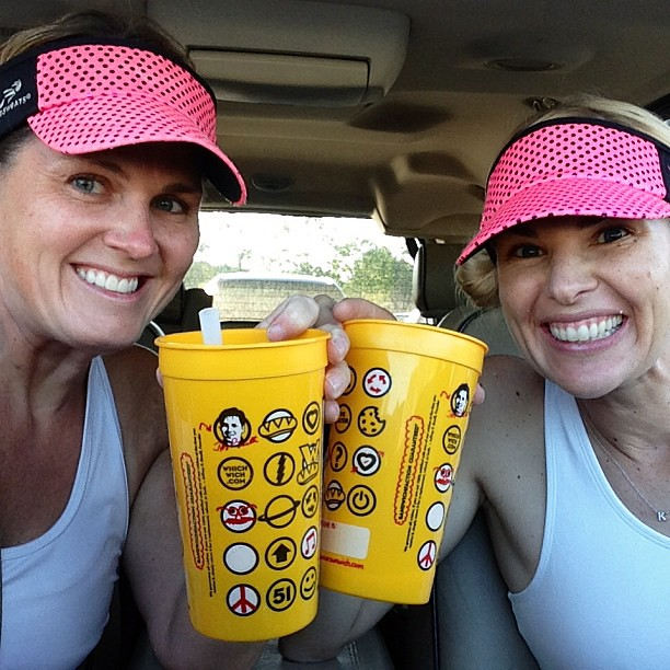 Girl's Night = Race Night. On our way to @NeonSplashDash. We are drinking our secret formula shakes to get ready to race. #neonsplashdash #mostmagical5k #teamsparkle