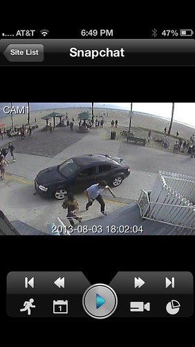 SnapChat Video of Car on Boardwalk