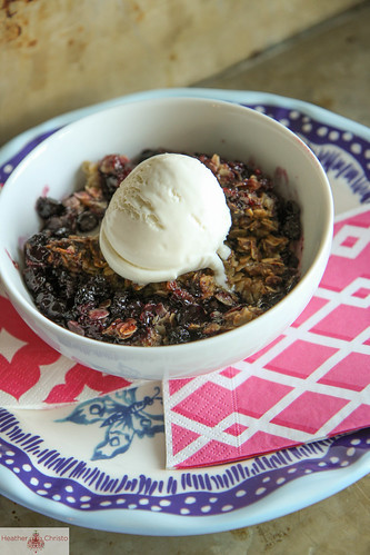 Blueberry Oatmeal Crisp with Bourbon Caramel
