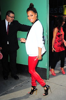 La La Rocking some tight red leather pants in NY