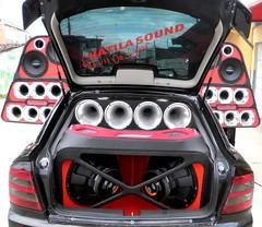 model car(0.0), executive car(0.0), wheel(0.0), steering wheel(0.0), vehicle registration plate(0.0), sports car(0.0), vehicle audio(1.0), automobile(1.0), automotive exterior(1.0), vehicle(1.0), bumper(1.0),