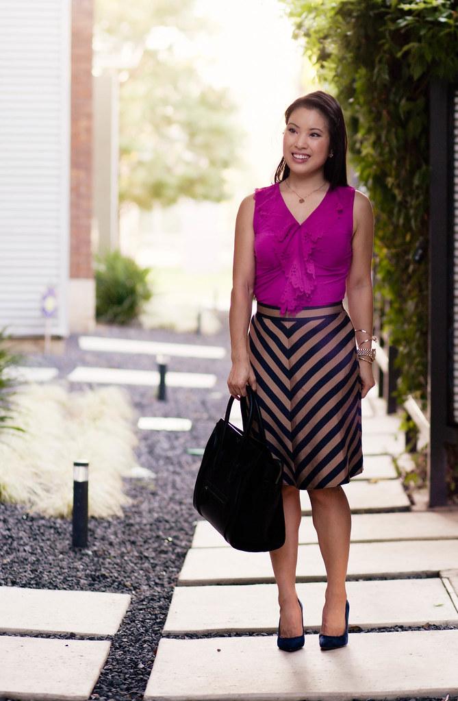 the limited fuschia ruffle tank, ann taylor chevron regent stripe skirt, loft petra navy suede pumps, celine mini luggage tote | cute & little | cuteandlittle.com | petite fashion blog