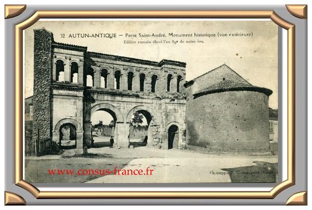 AUTUN - ANTIQUE  -  Porte Saint-André,  Monument historique (vue extérieure)