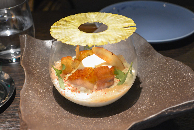 Coconut pudding coconut pearl pudding, caramelized spiced pineapple, lime financier