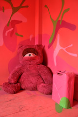 teddy bear, art, textile, red, stuffed toy, illustration, pink, toy,
