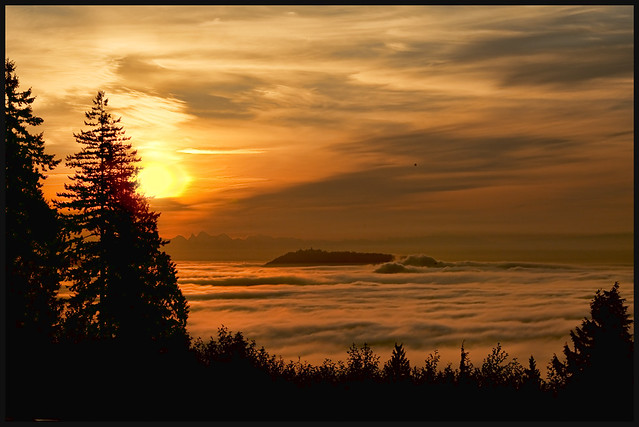 Vancouver under a foggy sunrise