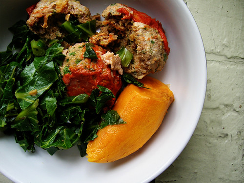 turkey meatballs, collard greens, and sweet potato