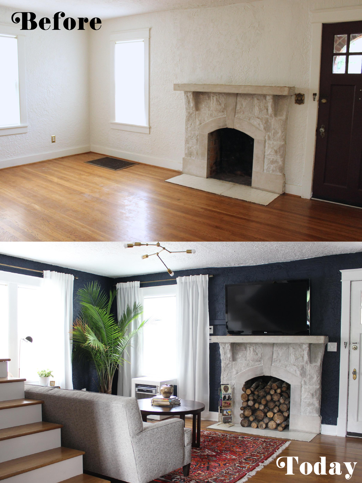 Fabric Paper Glue | Living Room Before and After
