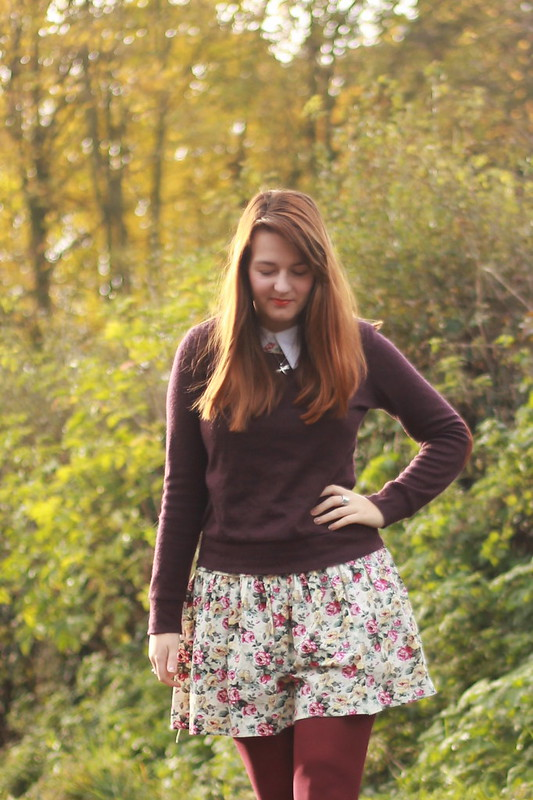 Jumper, floral dress, cut out boots