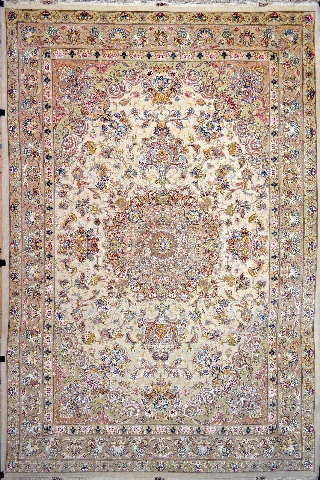 Floral Tabriz Silk Persian Rug Item Pa 2320