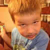 I mustache you a question. Do you like blue frosting? #frostingmustache #trevor #4yearsold