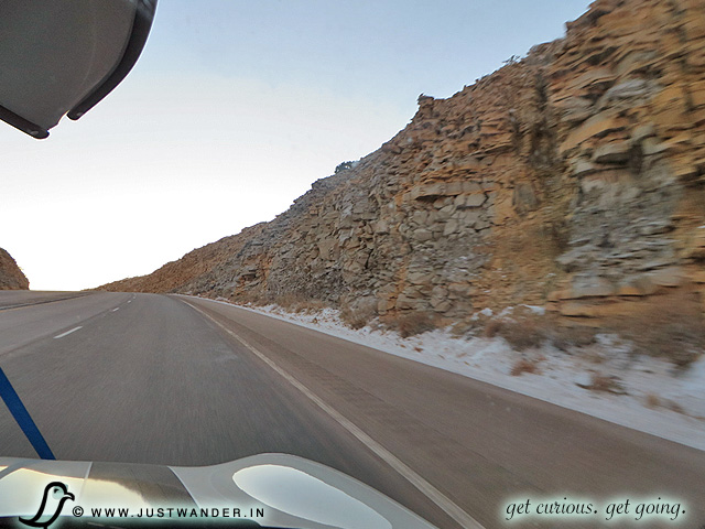 PIC: On the US-180 / US-62E towards Carlsbad Caverns National Park - signs of snowfall.