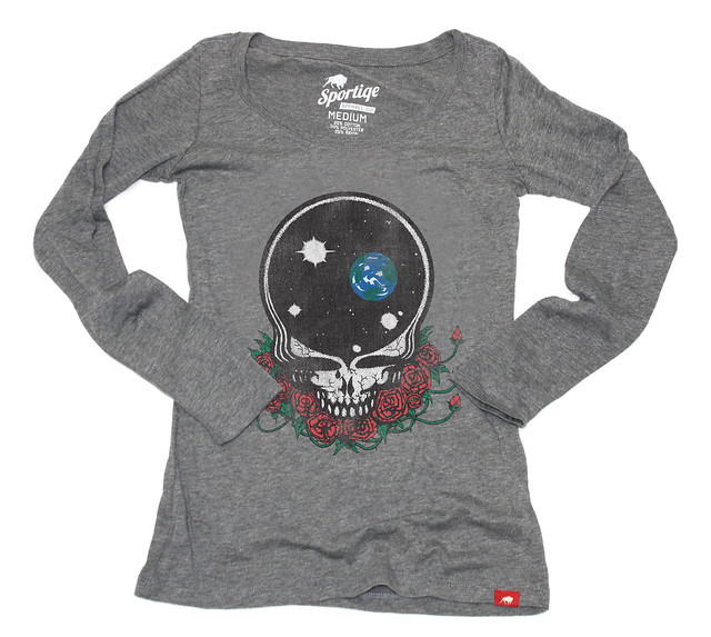 Sportiqe Womens Grateful Dead Space Face Long Sleeve T-Shirt