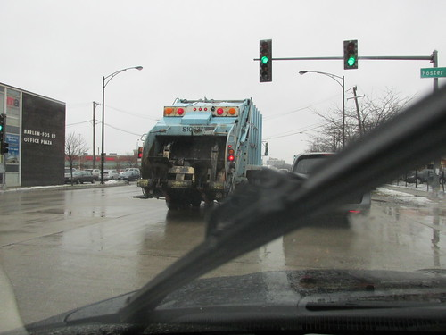 A rainy day for a trash collection.  Chicago Illinois.  Friday, December 20th, 2013. by Eddie from Chicago