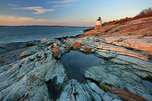 new sunset england lighthouse castle water landscape island golden rocks dusk hill shore hour rhode