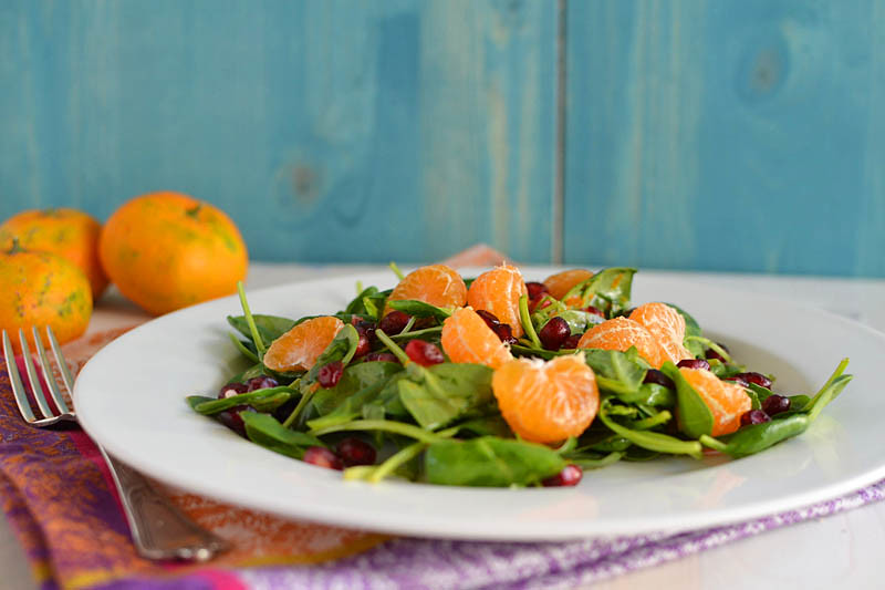 Spinach Pomegranate Salad with Pumpkin Vinaigrette via LittleFerraroKitchen.com