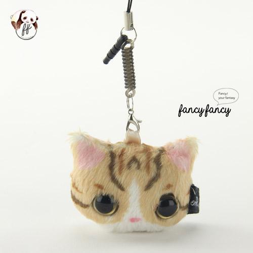 37.療癒貓臉手機吊飾+螢幕擦拭布-虎斑貓