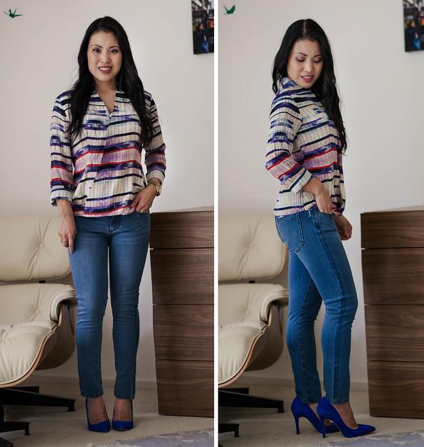 cute & little blog | petite fashion | blue jean bar express review | alpine stars wrap top, modern saints jeans