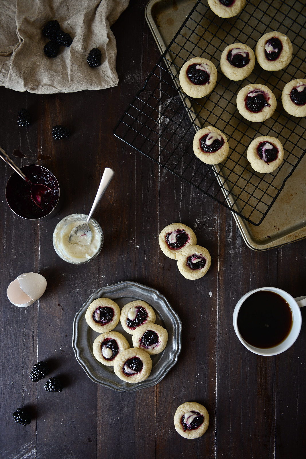 Blackberry goat cheese thumbprint cookies.