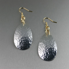 Aluminum Tear Drop Earrings - Hammered