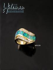Australian Opal Ring with Pave` Set Diamonds