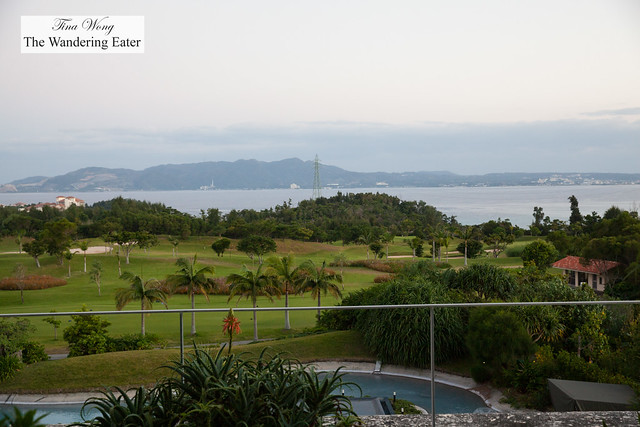 Looking out to the sea, mountains pool and golf course from my room's patio