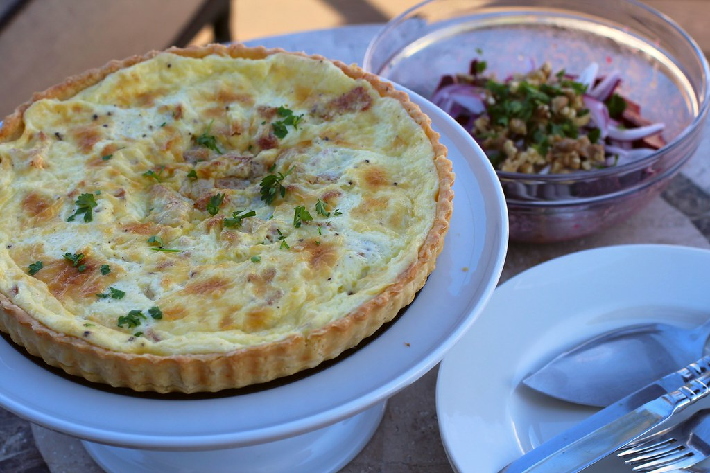 quiche lorraine and a french beet salad