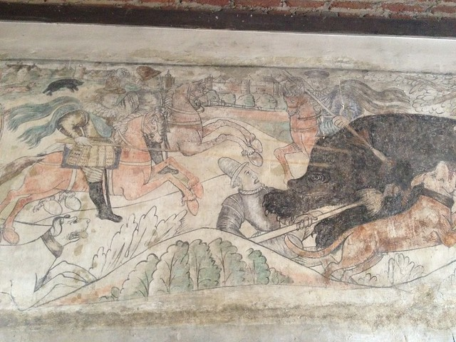 027 mad bear baiting murals rm in turret late 16thc early 17th local artist prob hunt