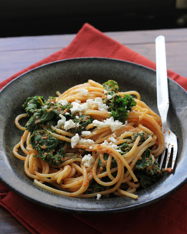 Recipe: Roasted Red Pepper Pasta with Kale and Feta