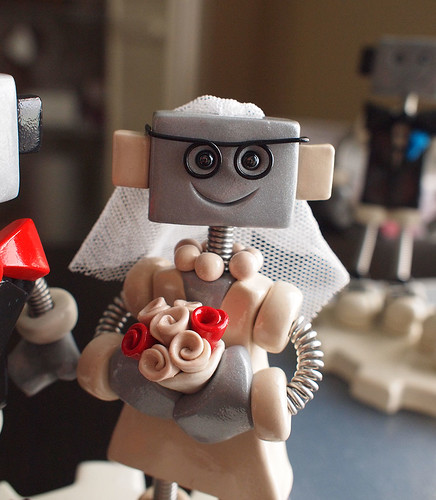 Custom Robot Wedding Cake Topper: Red and Black Geekery by HerArtSheLoves