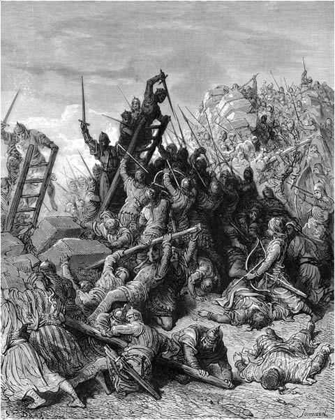6. Otra escena de la lucha de cruzados e infieles. De la obra Las Cruzadas. Gustavo Doré (1832-1883)