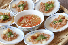 Vietnamese Traditional Food: Steamed flat rice cak…