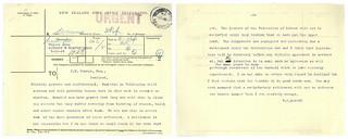 1913 Great Strike - Urgent Memorandum sent by Premier Massey